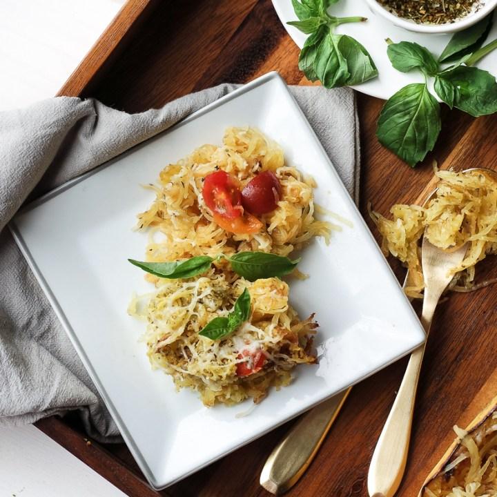 Simple Pesto Spaghetti Squash