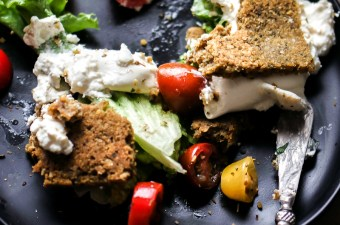 Low Carb Falafel Flatbread with Lemon Garlic Aioli