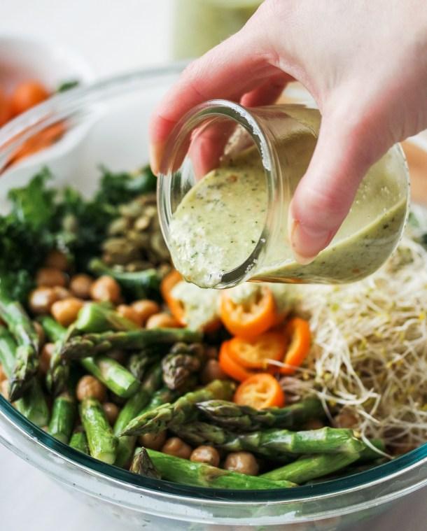 Detox Kale Chickpea Asparagus Salad with Kumquat Pumpkin Seed Pesto
