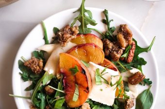 Grilled Peach 🍑 Brie & Basil Salad with Simple Balsamic Dressing
