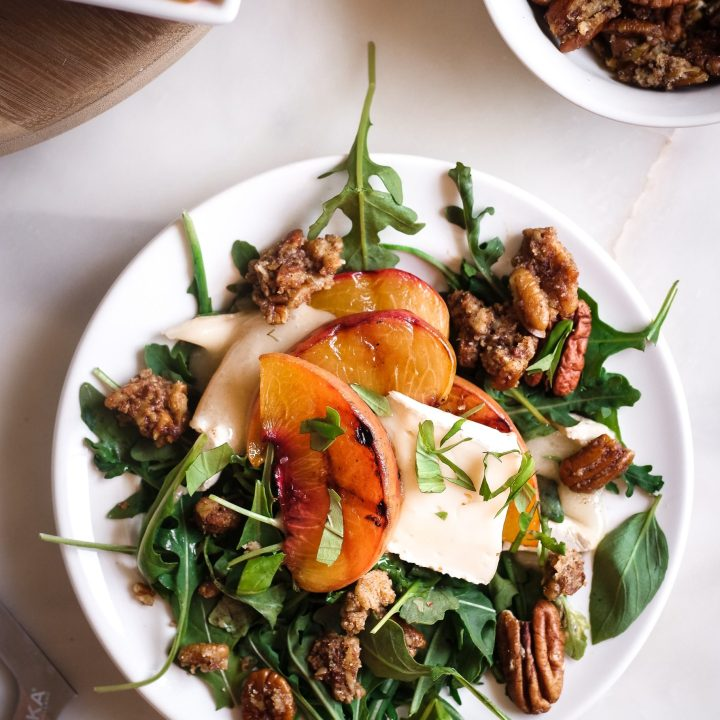 Grilled Peach Brie & Basil Salad with Simple Balsamic Dressing