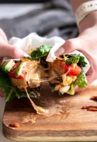 Cheesy Sundried Tomato Aioli Stuffed Portobello Burger-9761