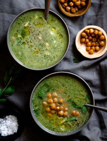 Green Goddess Soup with Salt and Pepper Chickpeas