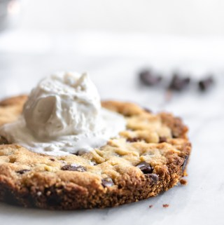 Keto chocolate chip skillet Cookie for Two