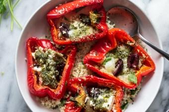 Mediterranean Roasted Red Peppers & Pesto Cauliflower Rice {Gluten Free & Keto Friendly}