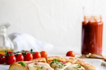 Creamy Havarti, Garlic, & Basil Pizza {Gluten Free & Low Carb}