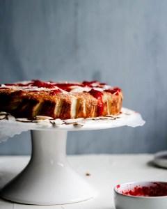 Low Carb Raspberry Almond Ricotta Cake