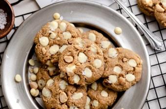 White Chocolate Macadamia Peanut Butter Cookies! Gluten Free & Keto