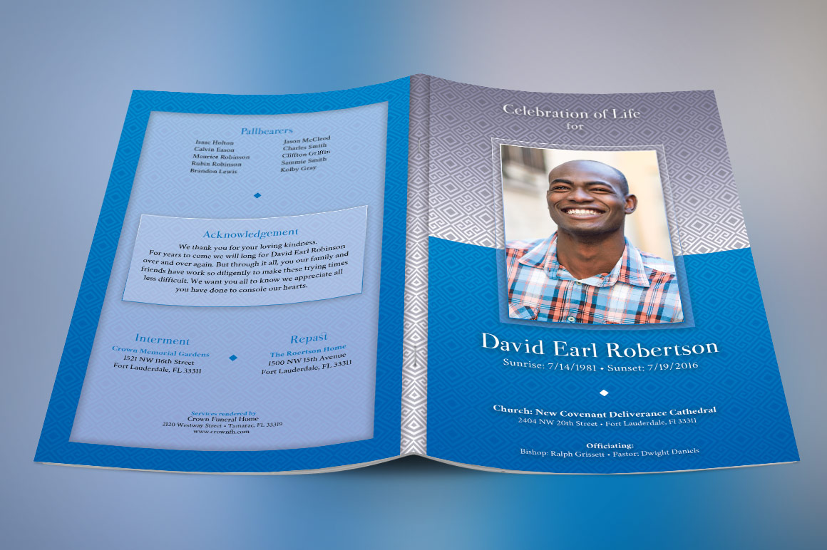 Blue Diamond Funeral Program Photoshop Obituary Templates