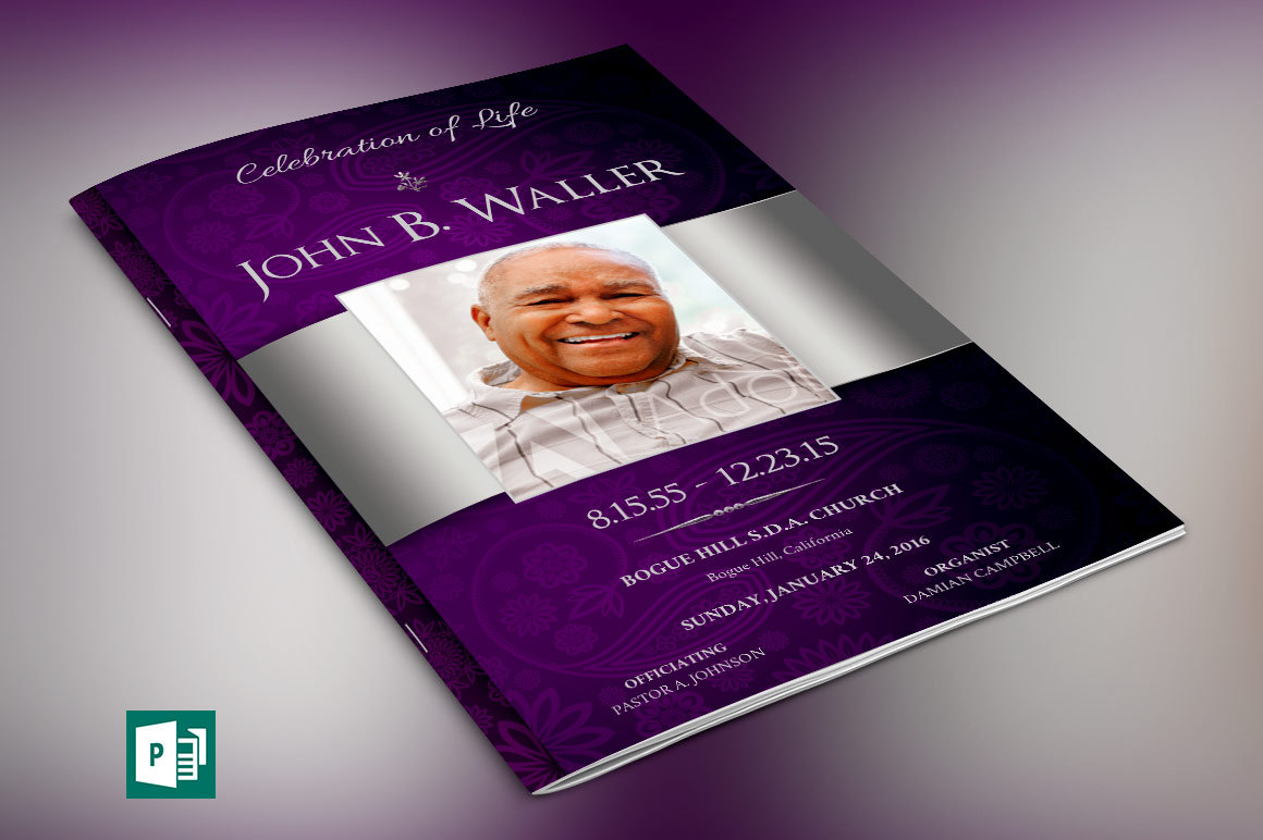 Lavender Silver Dignity Funeral Program Publisher Template