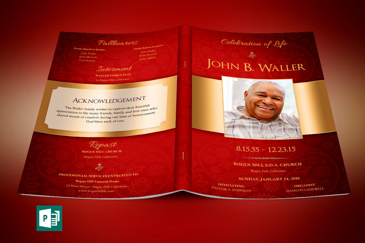 Burgundy Gold Dignity Funeral Program Publisher Template