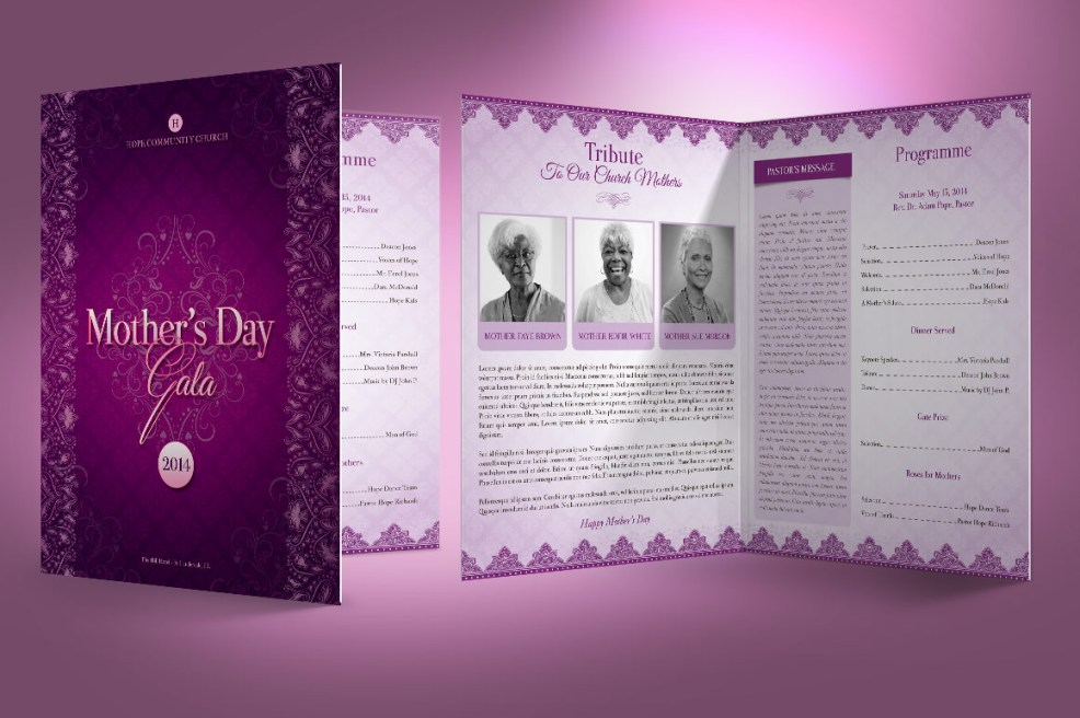 5 Beautiful Mothers Day Banquet Program Templates Graphicmule