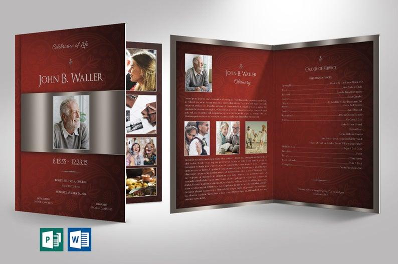Burgundy Silver Funeral Program Word Publisher