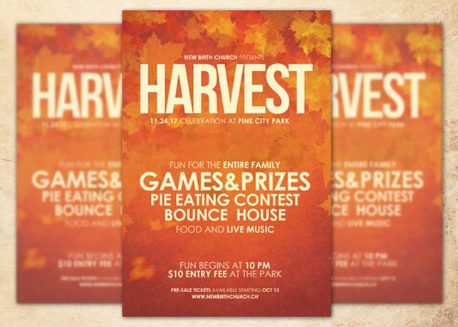 Harvest Celebration Church Flyer Template