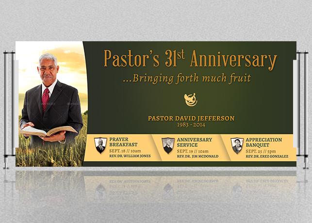 Pastor Anniversary Banner Template – Harvest