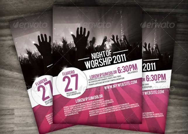 night of worship church flyer template