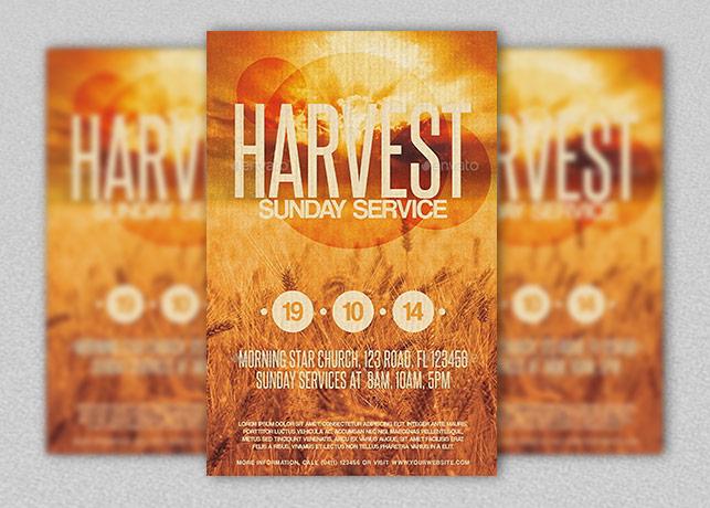 harvest sunday service flyer template inspiks market