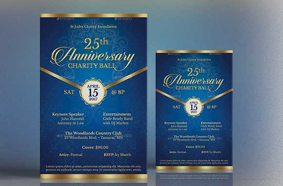 blue anniversary gala church flyer poster template