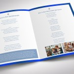 White Blue Funeral Program Tabloid Word Publisher Template
