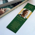 Green Gold Regal Funeral Bookmark Word Publisher Template