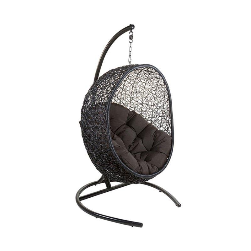 fauteuil coquille design suspendu en rotin synthetique noir et coussin confort noir