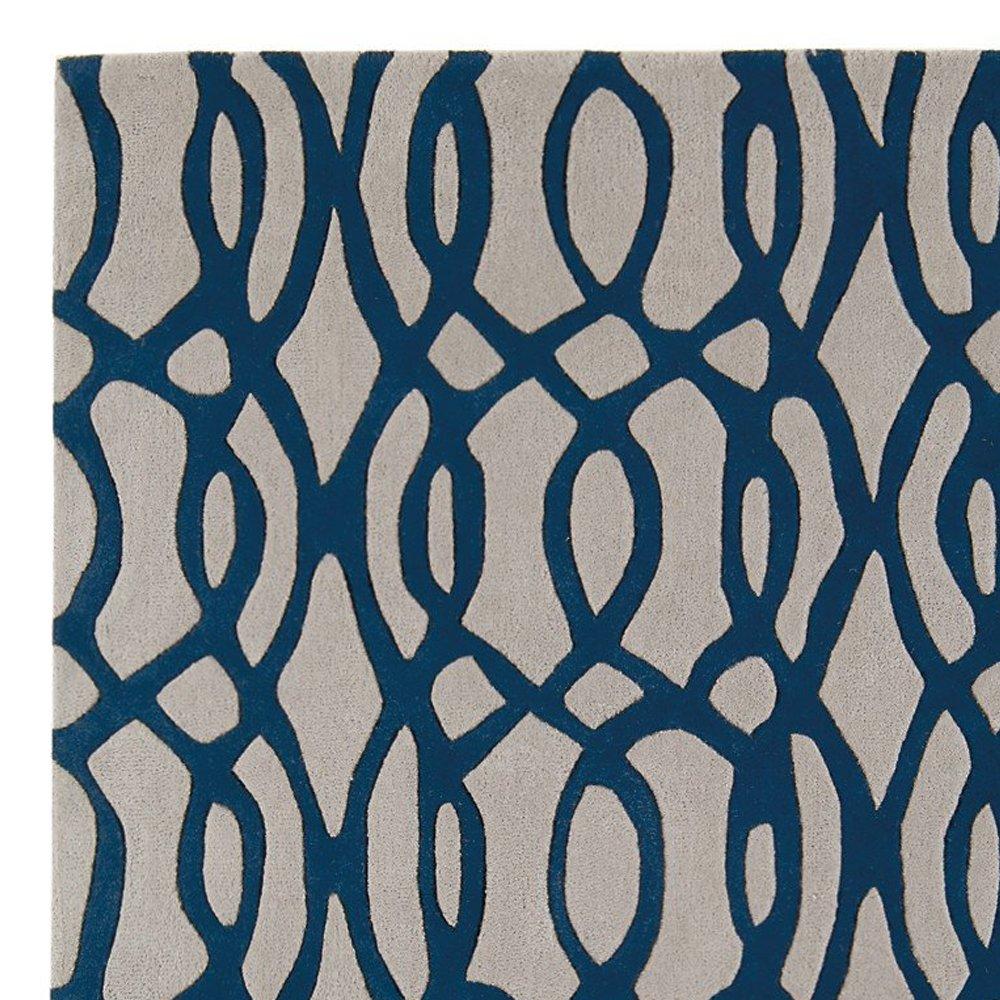 tapis design beige et bleu en laine par