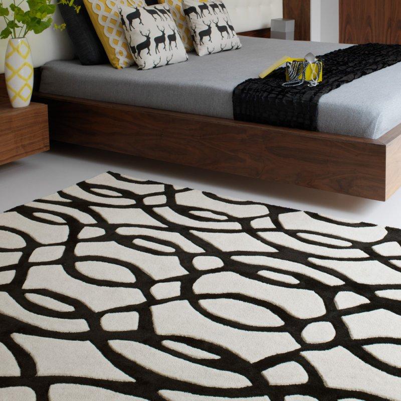tapis de salon design noir et blanc en laine fait main