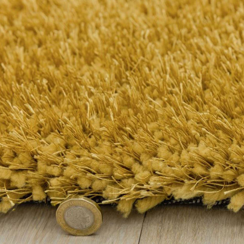 tapis shaggy a longues meches jaune moelleux