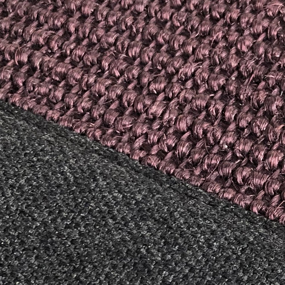 tapis sur mesure en sisal prune finition gansee
