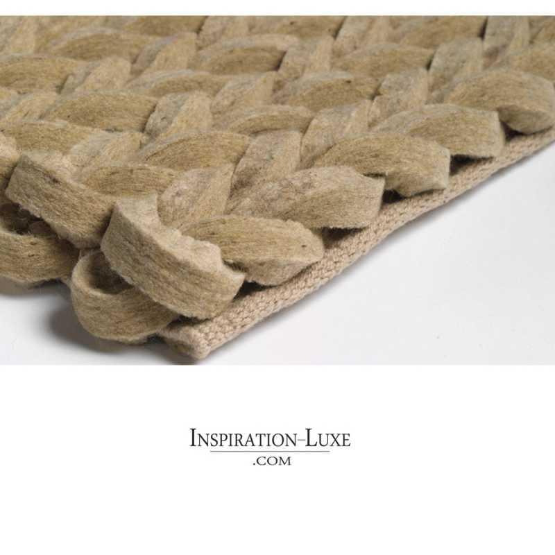 tapis en laine tressee beige sur mesure 270 cm x 370 cm inspiration luxe