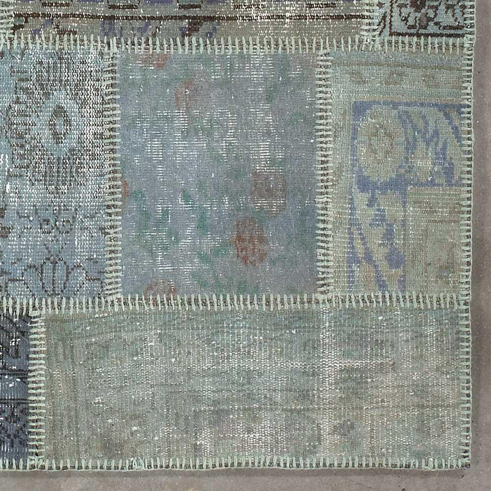 tapis de salon kilim patchwork gris bleu en laine et coton par angelo