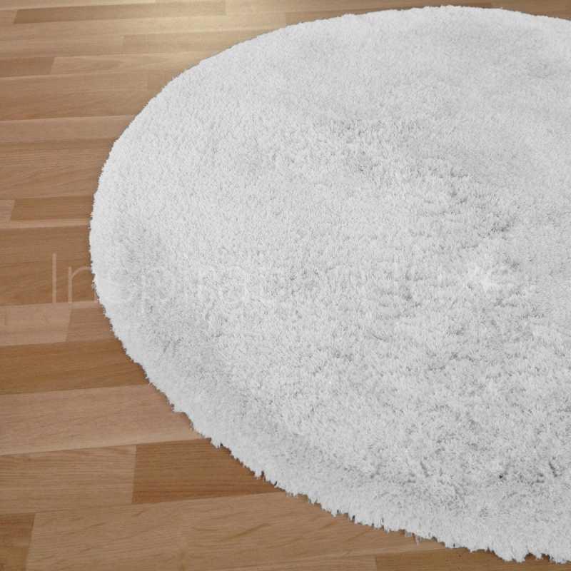 tapis rond sur mesure blanc a longues meches moelleux