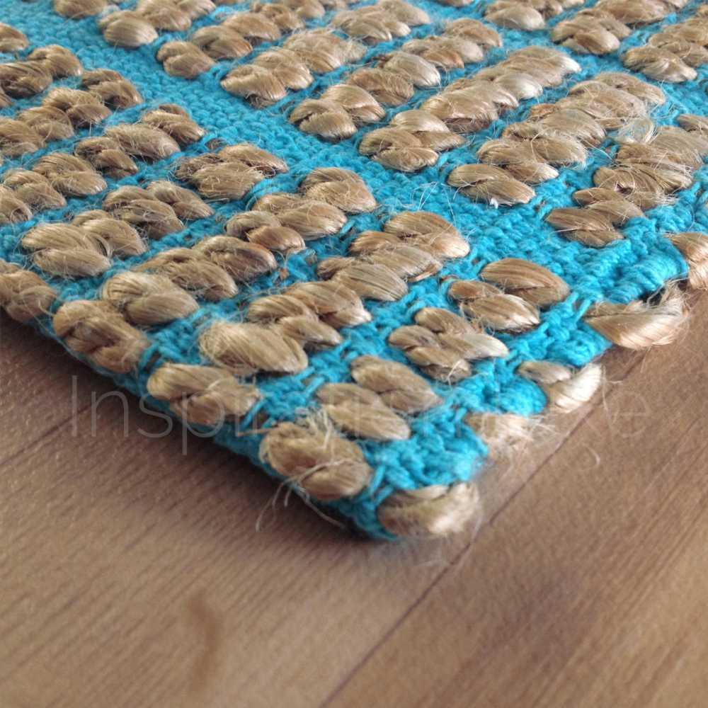 tapis haut de gamme bleu en fibres