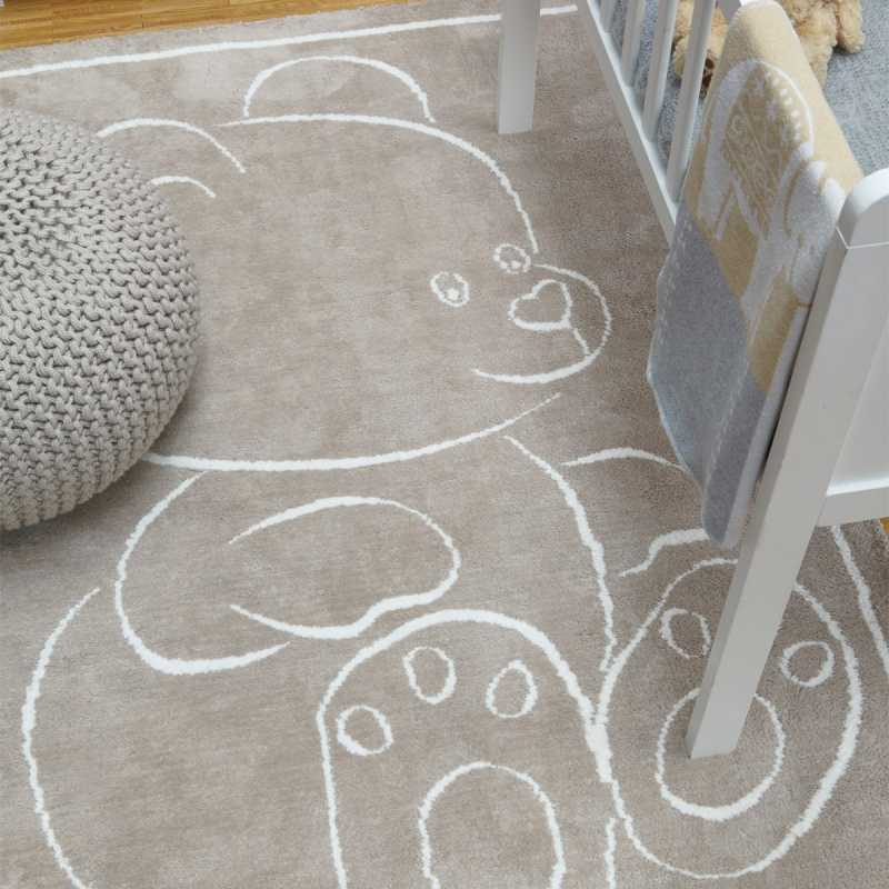 tapis moderne en coton beige avec motif ourson pour chambre d enfant