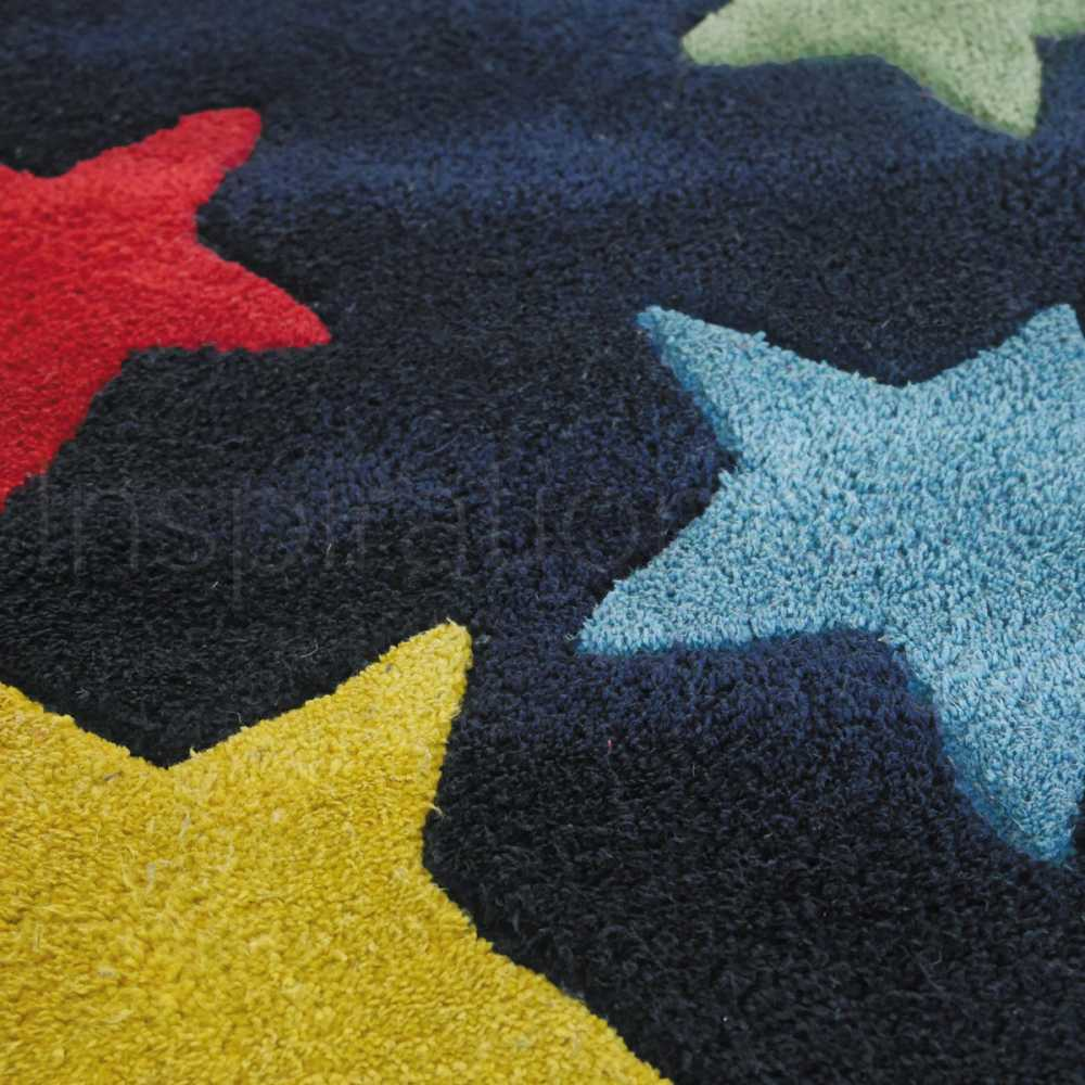 tapis de chambre contemporain etoile bleu en coton