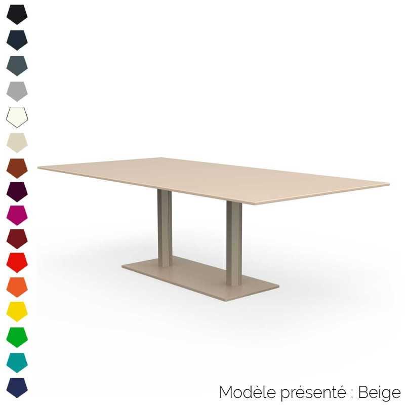 table rectangulaire en metal a 2 pieds d interieur et d exterieur
