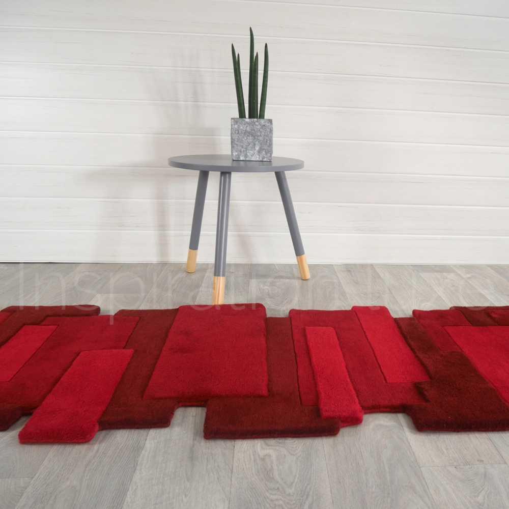 tapis rouge de luxe de couloir design pebbles par angelo