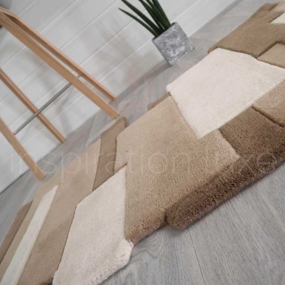 tapis sur mesure taupe de couloir design pebbles par angelo