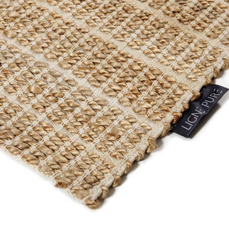tapis moderne beige en jute et coton fait main par ligne pure