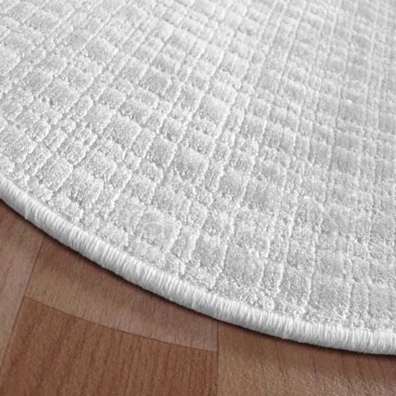 tapis rond sur mesure blanc en viscose