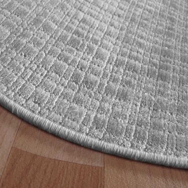 tapis rond sur mesure gris clair en viscose
