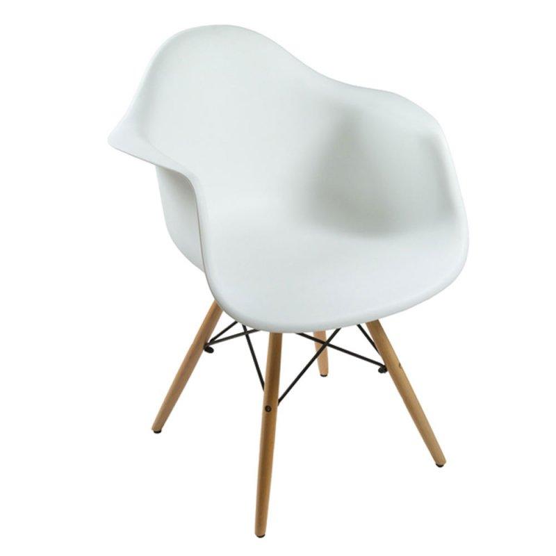 lot de 4 fauteuils scandinave avec accoudoirs blanc et pieds en bois inspiration luxe