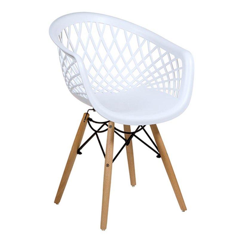 lot de 2 fauteuils blanc design nid en polypropylene avec pieds en bois inspiration luxe