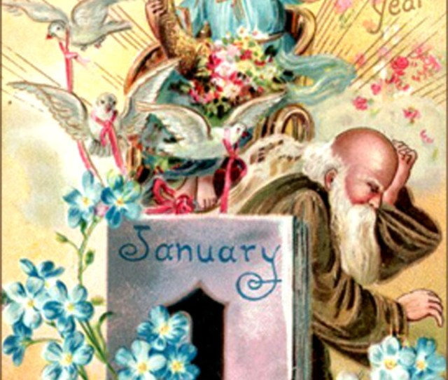 Old Vintage New Years Greeting Card With Angel And Father Time