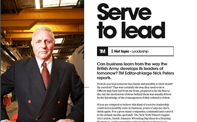 Serve To Lead – article in The Manufacturer