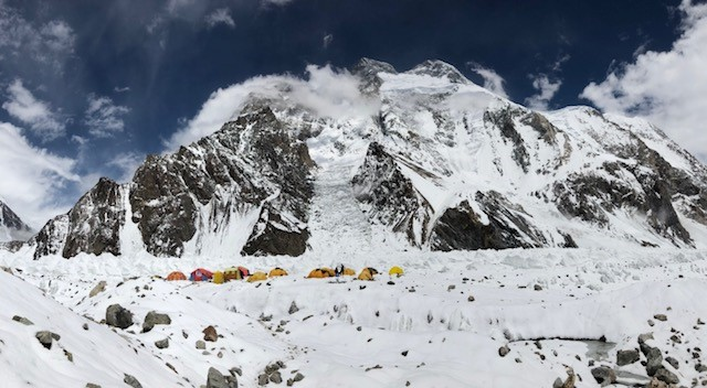 Our camp amidst the glacier, with Broad Peak behind us. The summit is actually the furthest right hand Peak. On the far left is the start of the Abruzzi ridge on K2.