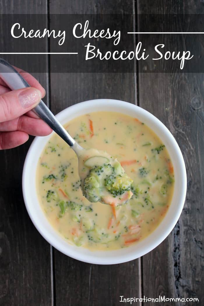 Creamy Cheesy Broccoli Soup is quick, easy and delicious! Small pieces of broccoli and carrots smothered in flavorful creamy deliciousness!