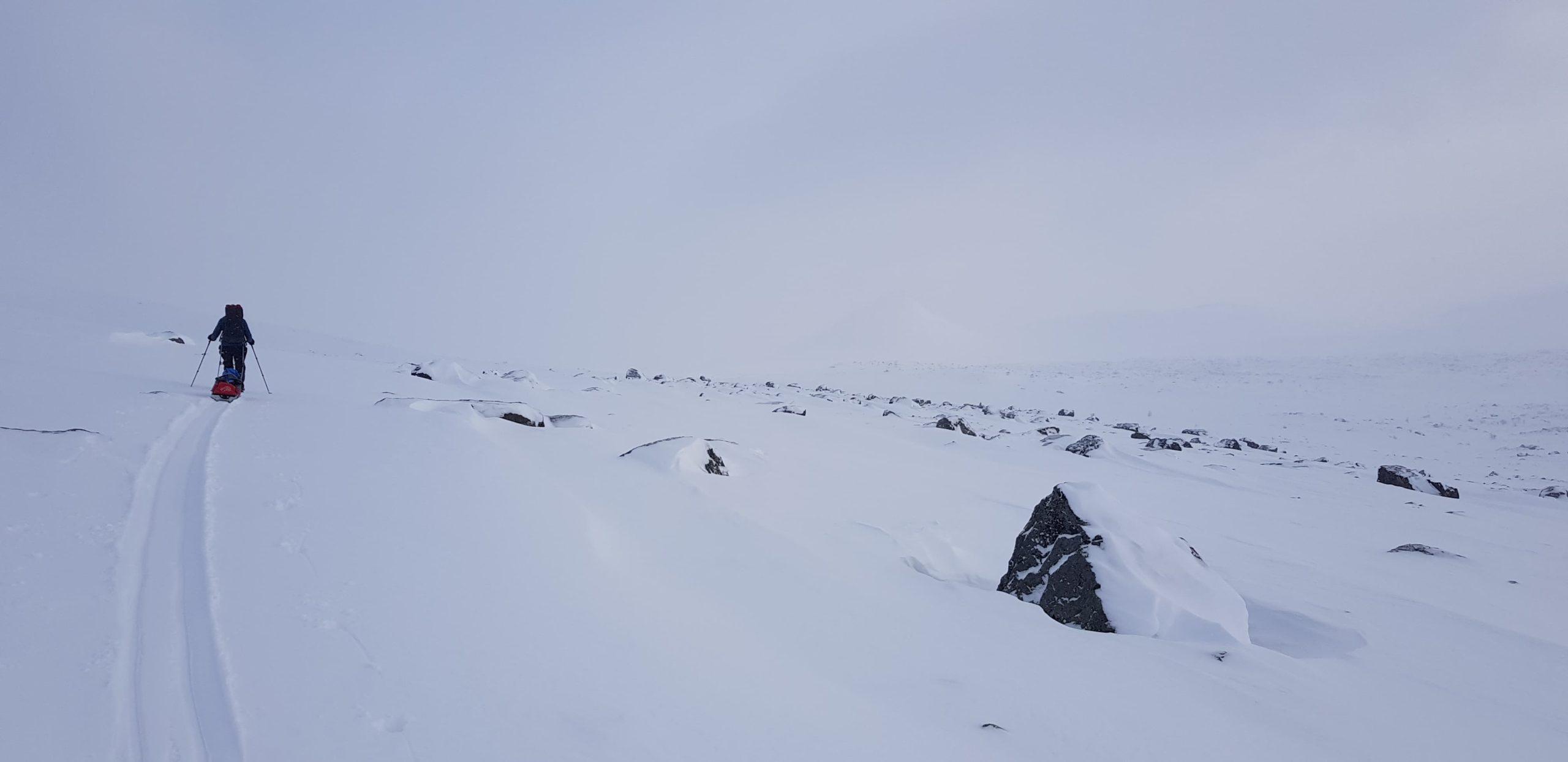 Skiing out from Sarek towards Saltoluokta