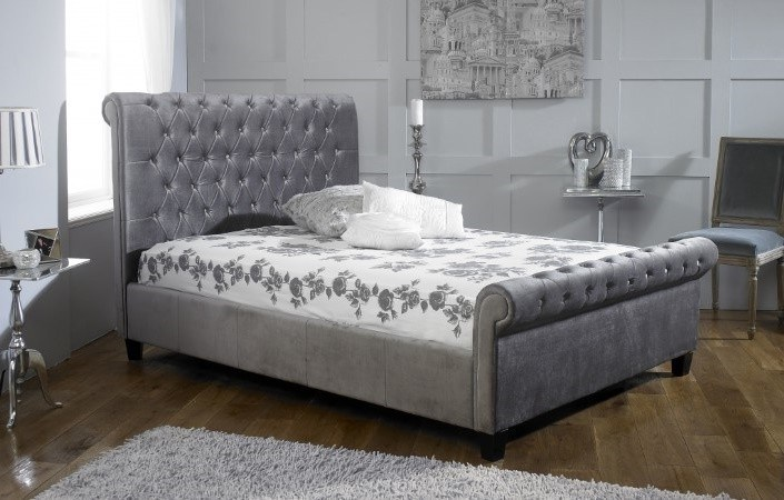 Orbit plush silver bed frame