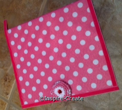 add velvet ribbon around felt wallet